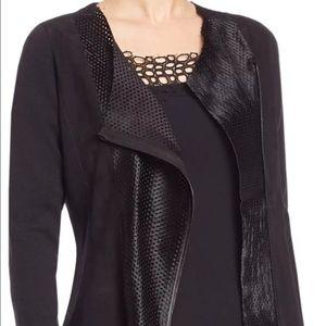NEW Elie Tahari black perforated wool jacket Small
